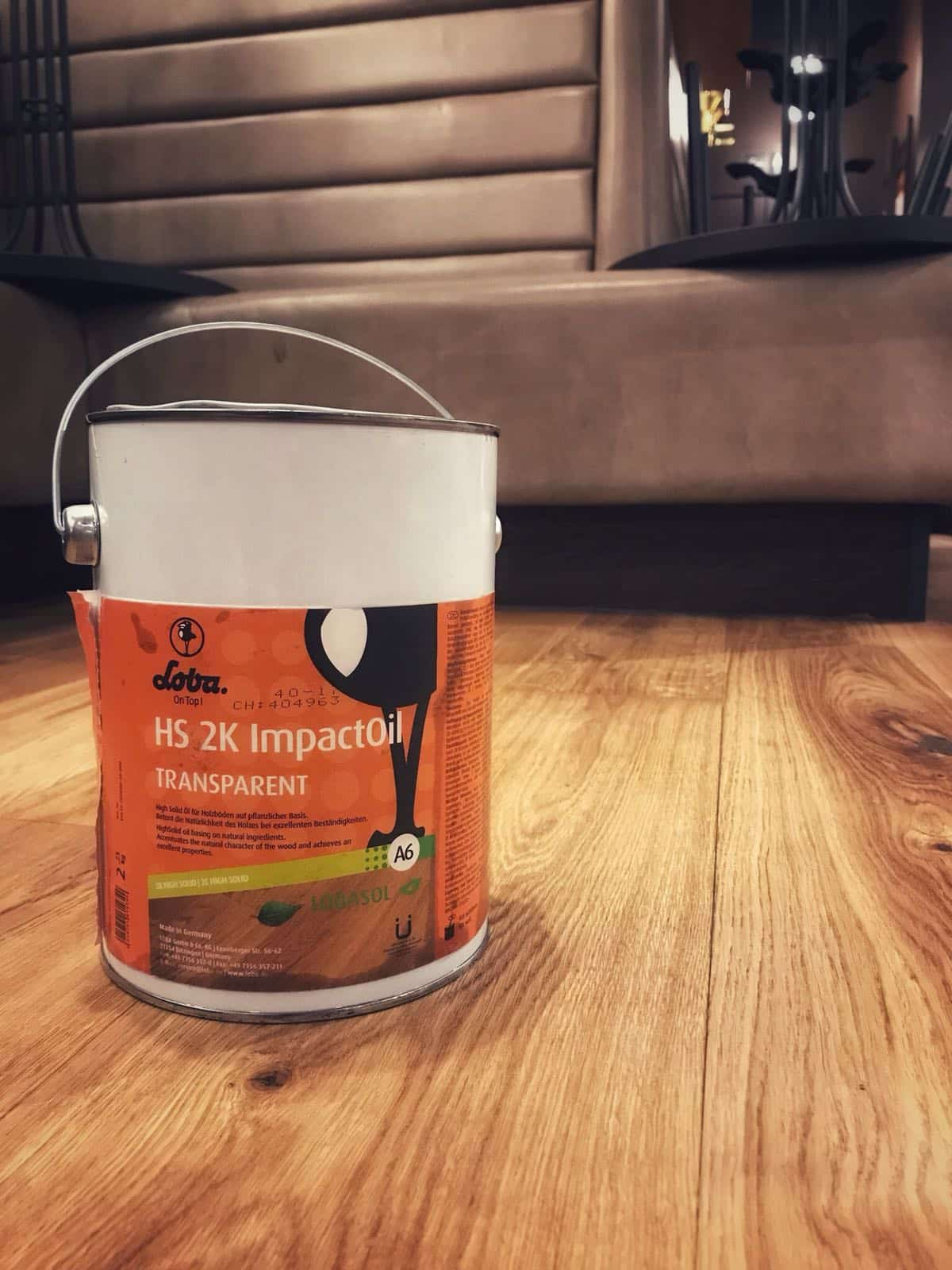 LOBASOL 2K ImpactOil in the floor at Starbucks Manchester